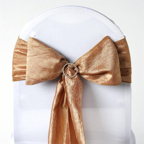 "5 PCS | 6""x106"" Gold Crinkle Crushed Taffeta Chair Sashes"