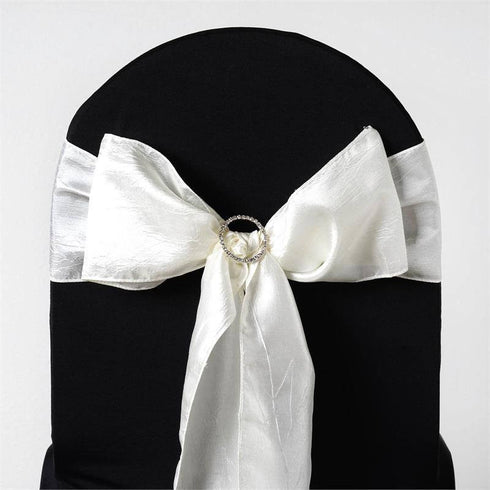 "5 PCS | 6""x106"" Ivory Crinkle Crushed Taffeta Chair Sashes"