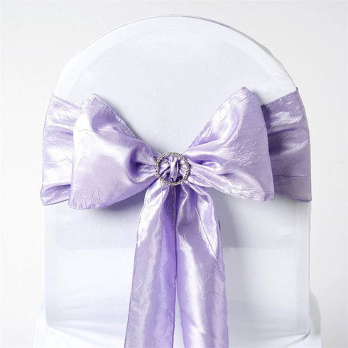 "5 PCS | 6""x106"" Lavender Crinkle Crushed Taffeta Chair Sashes"