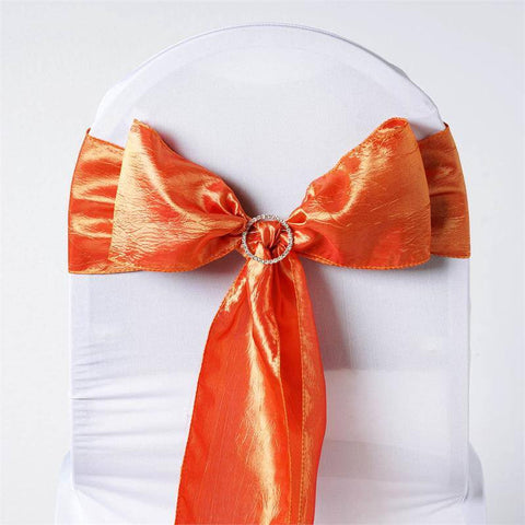 5pc x Orange Taffeta Crinkle Sash