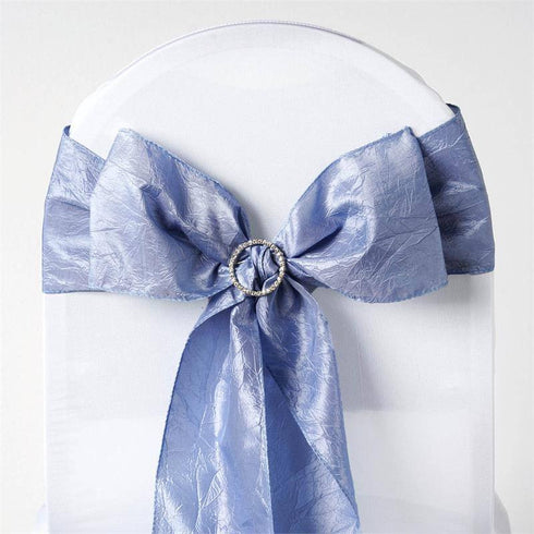 "5 PCS | 6""x106"" Serenity Blue Crinkle Crushed Taffeta Chair Sashes"