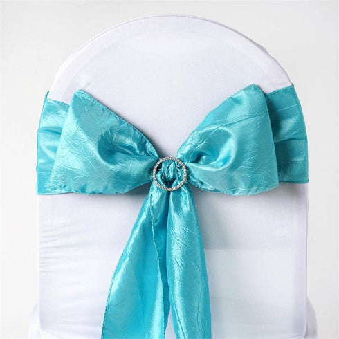 "5 PCS | 6""x106"" Turquoise Crinkle Crushed Taffeta Chair Sashes"