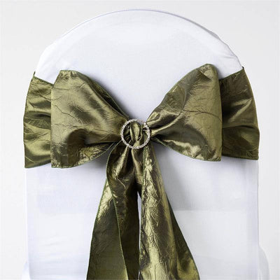 "5 PCS | 6""x106"" Moss Green Taffeta Crinkle Chair Sashes"