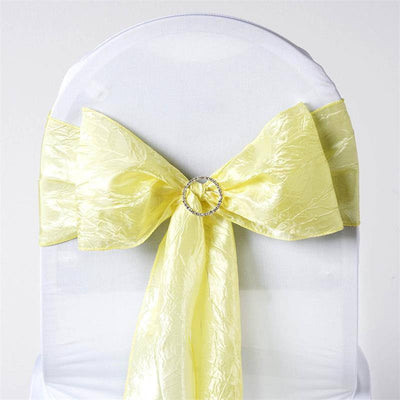 "5 PCS | 6""x106"" Yellow Crinkle Crushed Taffeta Chair Sashes"