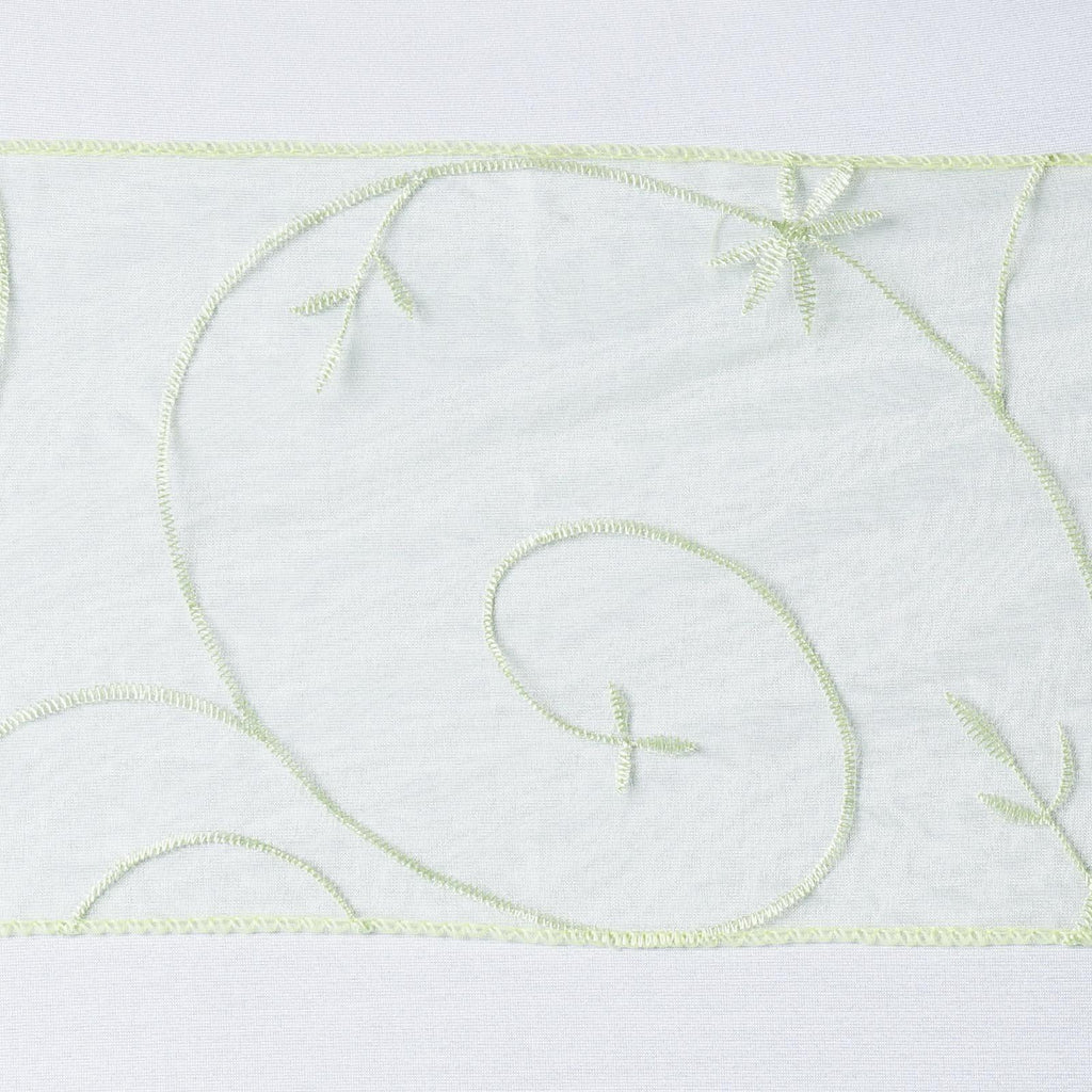 5pc x Apple Green Leaf-Motif Embroidered Chair Sash