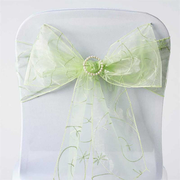 "5 PCS | 7""x108"" Apple Green Embroidered Organza Chair Sashes"
