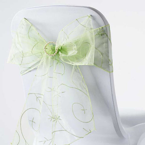 "5 PCS | 7x108"" Apple Green Embroidered Chair Sashes"