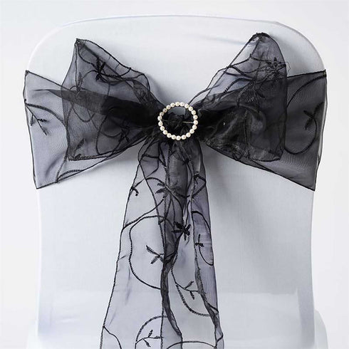 5 PCS | 7 Inch x108 Inch | Black Embroidered Organza Chair Sashes | eFavorMart