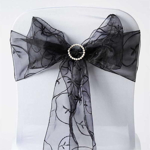 "5 PCS | 7""x108"" Black Embroidered Organza Chair Sashes"