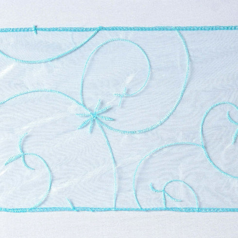 5pc x Light Blue Leaf-Motif Embroidered Chair Sash