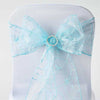 5 PCS | 7 Inch x108 Inch | Light Blue Embroidered Organza Chair Sashes | eFavorMart