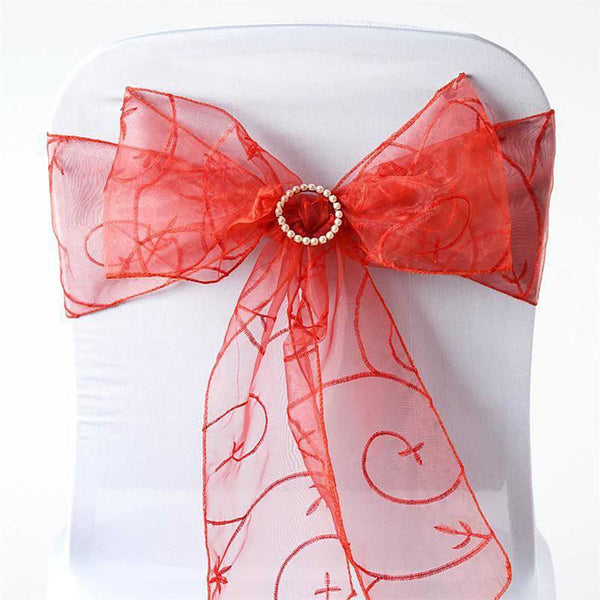 "5 PCS | 7""x108"" Burnt Orange Embroidered Organza Chair Sashes"