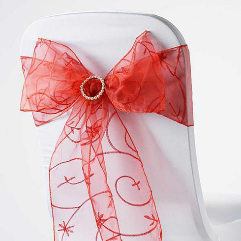 5 PCS | 7 Inch x108 Inch | Burnt Embroidered Organza Chair Sashes | eFavorMart