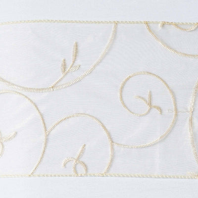 5pc x Champagne Leaf-Motif Embroidered Chair Sash