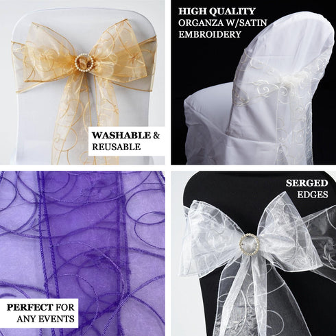 "5 PCS | 7""x108"" Ivory Embroidered Organza Chair Sashes"