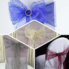 "5 PCS | 7""x108"" Silver Embroidered Organza Chair Sashes"