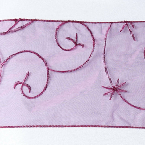5pc x Eggplant Leaf-Motif Embroidered Chair Sash