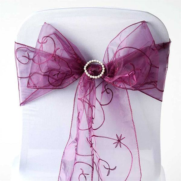 "5 PCS | 7""x108"" Eggplant Embroidered Organza Chair Sashes"