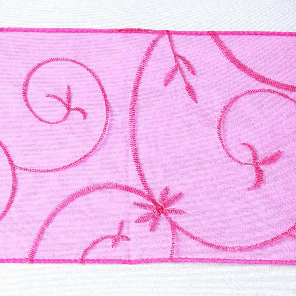 5pc x Fushia Leaf-Motif Embroidered Chair Sash