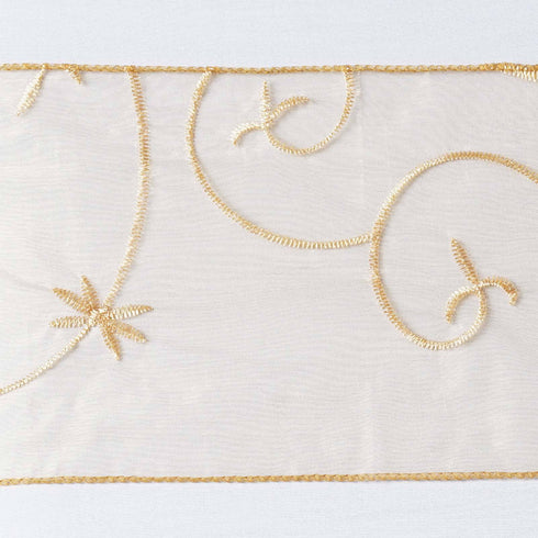 5pc x Gold Leaf-Motif Embroidered Chair Sash