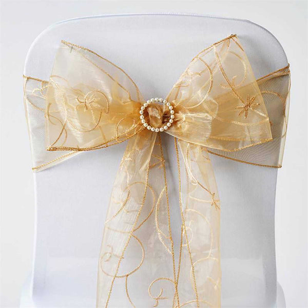"5 PCS | 7""x108"" Gold Embroidered Organza Chair Sashes"
