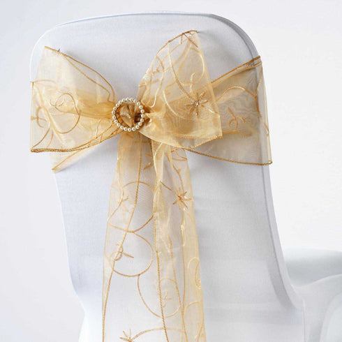 5 PCS | 7 Inch x108 Inch | Gold Embroidered Organza Chair Sashes | eFavorMart