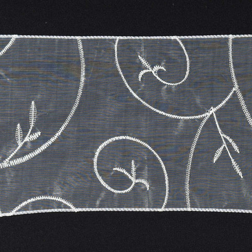 5pc x Ivory Leaf-Motif Embroidered Chair Sash