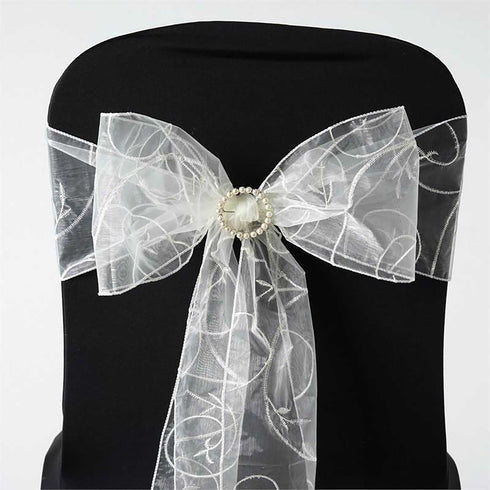 5 PCS | 7 Inch x108 Inch | Ivory Embroidered Organza Chair Sashes | eFavorMart