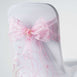5 PCS | 7 Inch x108 Inch | Pink Embroidered Organza Chair Sashes | eFavorMart