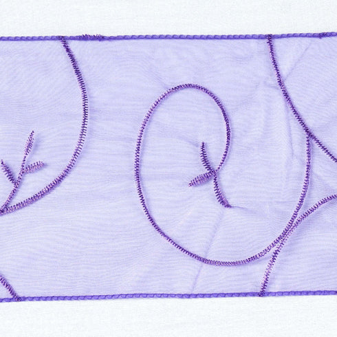 5pc x Purple Leaf-Motif Embroidered Chair Sash