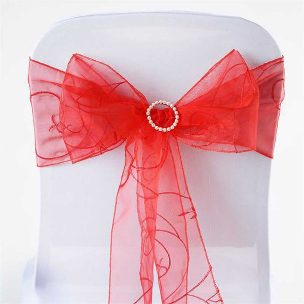 "5 PCS | 7""x108"" Red Embroidered Organza Chair Sashes"