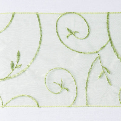 5pc x Sage Leaf-Motif Embroidered Chair Sash