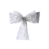 5 PCS | 7 Inch x108 Inch | Silver Embroidered Organza Chair Sashes | eFavorMart