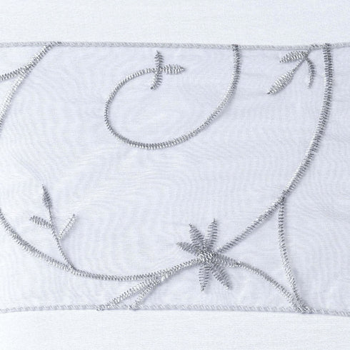 5pc x Silver Leaf-Motif Embroidered Chair Sash