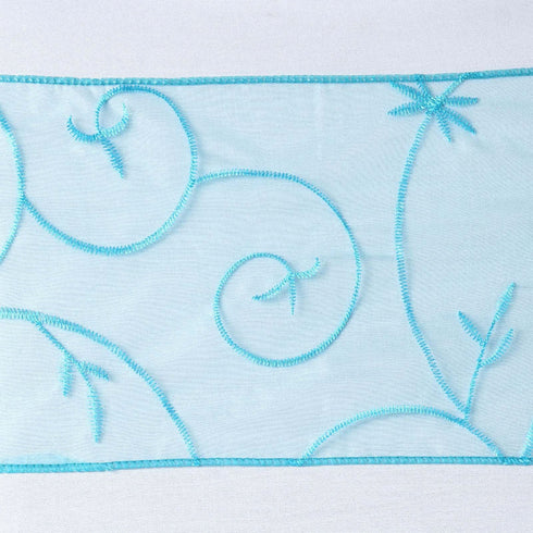 5pc x Turquoise Leaf-Motif Embroidered Chair Sash