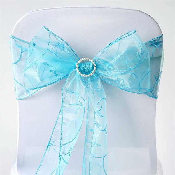 "5 PCS | 7""x108"" Turquoise Embroidered Organza Chair Sashes"