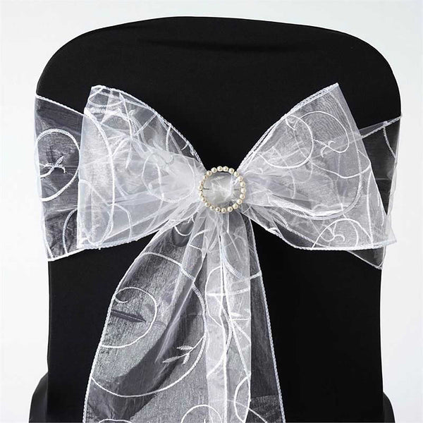 "5 PCS | 7""x108"" White Embroidered Organza Chair Sashes"