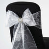 5 PCS | 7 Inch x108 Inch | White Embroidered Organza Chair Sashes | eFavorMart