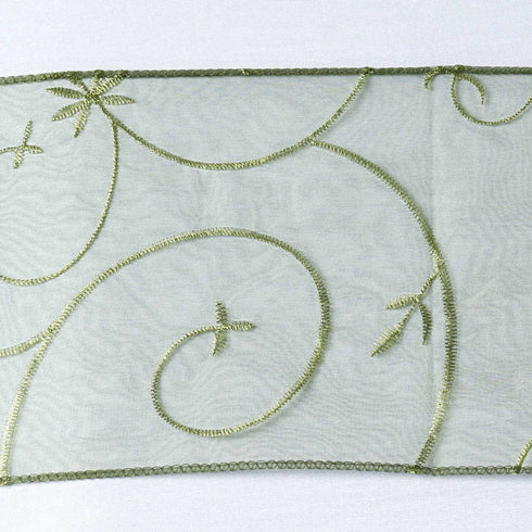 5pc x Leaf-Motif Embroidered Chair Sash - Moss/Willow