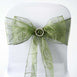 5 PCS | 7 Inch x108 Inch | Moss Green Embroidered Organza Chair Sashes | eFavorMart