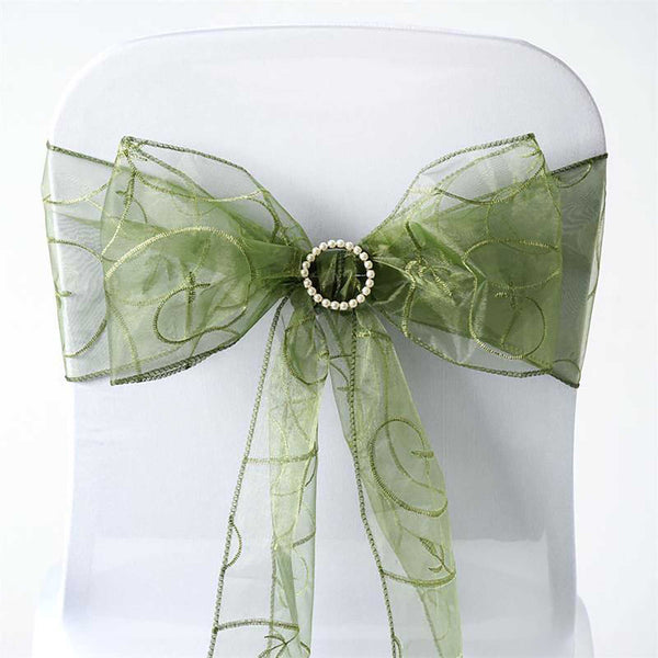 "5 PCS | 7""x108"" Moss Green Embroidered Organza Chair Sashes"