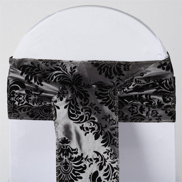 "5 Pack | 6""x108"" Silver/Black Taffeta Damask Flocking Chair Tie Bow Sash"