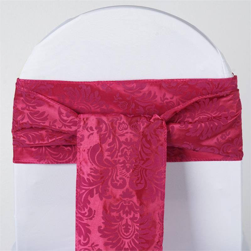 5pc x Dual-Tone Edition Flocking Chair Sash - Fushia / Fushia