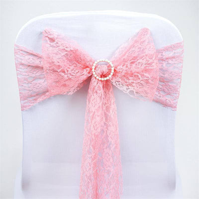 5pc x JOLLY GOOD Lace Chair Sashes - Rose Quartz
