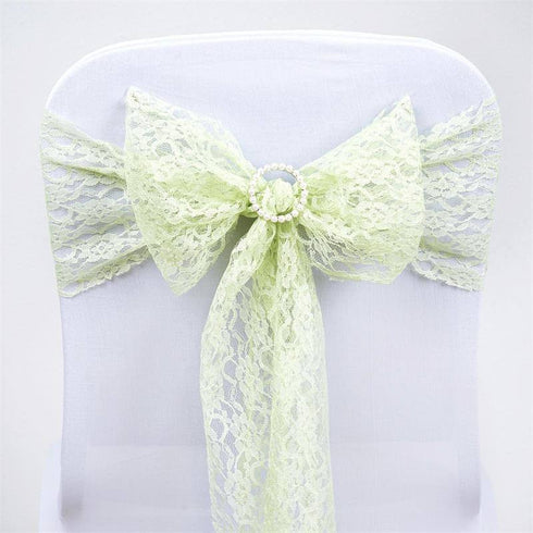 5pc x JOLLY GOOD Lace Chair Sashes - Tea Green