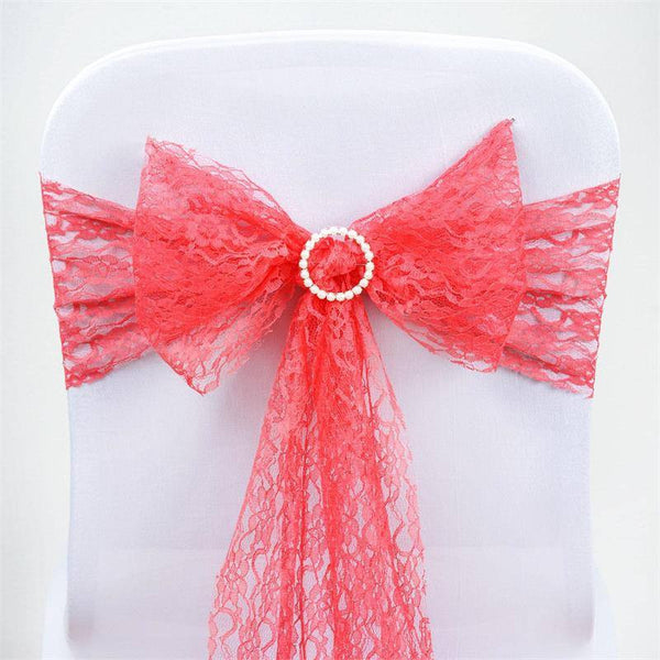 "5 Pcs | 6""x108"" Coral Lace Chair Sashes"