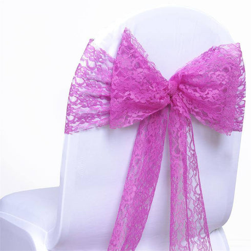 5pc x JOLLY GOOD Lace Chair Sashes - Fushia