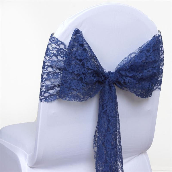 "5 PCS | 6""x108"" Navy Blue Lace Chair Sash"