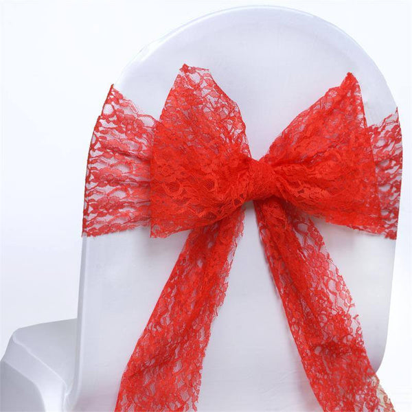 "5 PCS | 6""x108"" Red Lace Chair Sash"