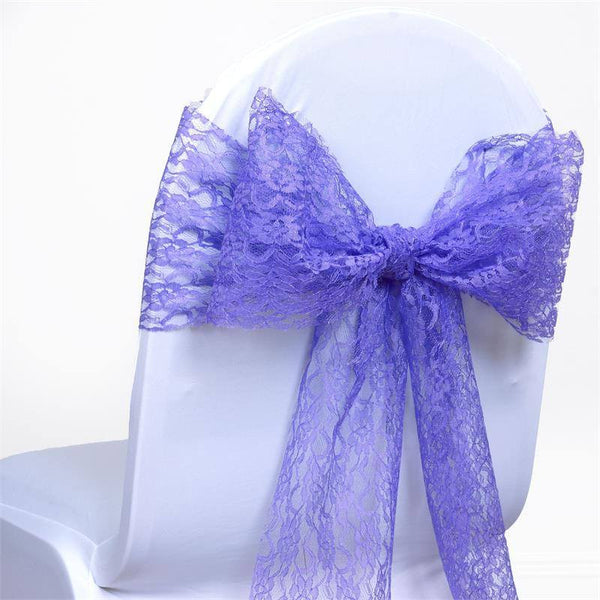 "5 PCS | 6""x108"" Royal Blue Lace Chair Sash"